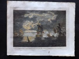 Field of Mars 1801 Naval Print. Monmouth of 64 Guns taking the Foudroyant, 1758